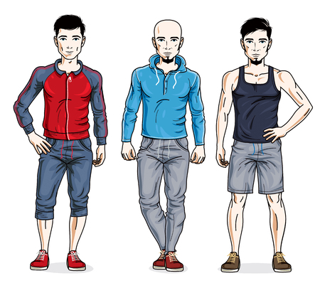Happy men group standing wearing stylish sport clothes. Vector diverse people illustrations set. Lifestyle theme male characters. Illustration