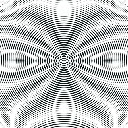 Striped psychedelic background with black and white moire lines. Gradient optical pattern, motion effect tile. Vektorové ilustrace