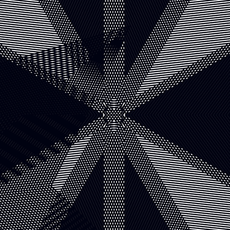 Optical illusion, moire vector background, abstract lined monochrome tiling. Unusual geometric pattern with visual effects. Illustration