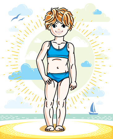 Little redhead girl toddler standing on sunny beach and wearing swimming suit. Vector kid illustration. Summer holidays theme.