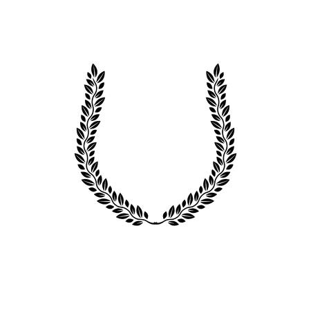 armory: Laurel Wreath floral ancient emblem created in horseshoe shape. Heraldic vector design element. Retro style label, heraldry logo.