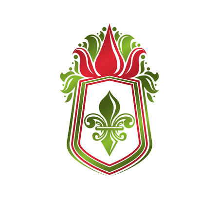 Vintage heraldic emblem created with lily flower royal symbol. Eco product symbol, organic and healthy food theme illustration, decorative protection shield.