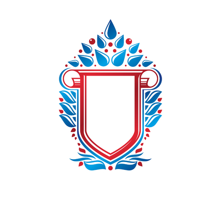 rolled up: Blank heraldic design with copy space, vector vintage protection shield emblem decorated with lily flower and rolled-up ends. Illustration
