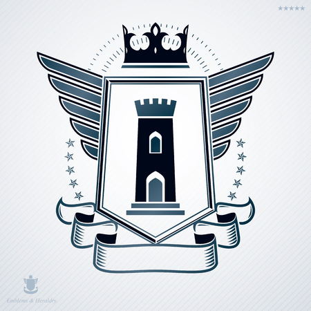 bastion: Heraldic coat of arms decorative emblem. Illustration