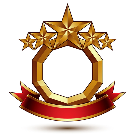 Majestic vector golden ring isolated on white background, 3d polished five golden stars. Heraldic branded symbol with festive red ribbon. Dimensional glossy decorative stars, elegant shaped blazon. Eps8. Ilustrace