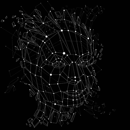 3d vector portrait created with lines mesh. Intelligence allegory, black and white low poly face with splinters which fall apart, head exploding with ideas, thoughts and imagination. Illustration
