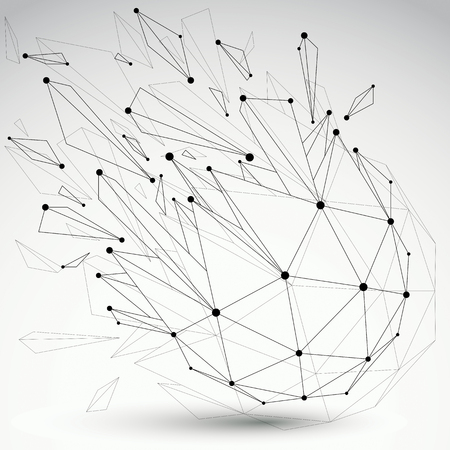Abstract 3d faceted figure with connected black lines and dots. Vector low poly spherical shattered design element with fragments and particles. Explosion effect.