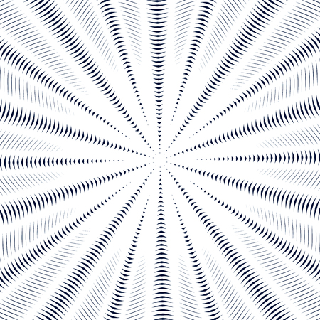 Optical illusion, moire background, abstract lined monochrome vector tiling. Unusual geometric pattern with visual effects. Illustration