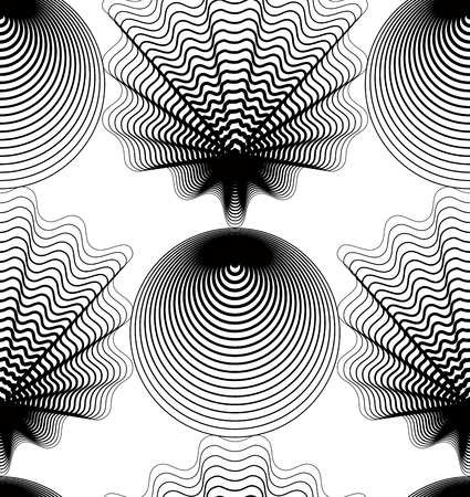 Ornate vector monochrome abstract background with black lines. Symmetric decorative graphical pattern, geometric illustration.