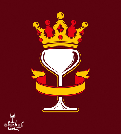rendezvous: Sophisticated luxury wineglass with golden imperial crown and decorative curved ribbon. Royal vector goblet. Rendezvous conceptual illustration.