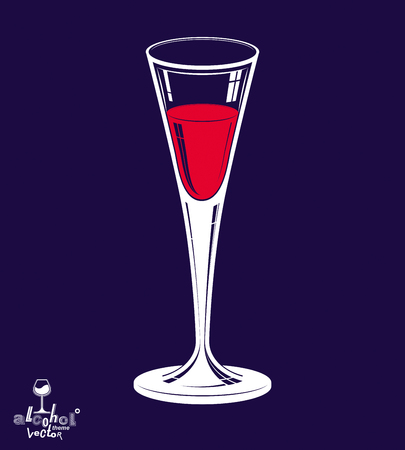 Classic vector 3d champagne goblet isolated on dark background, alcohol beverage theme illustration. Lifestyle graphic realistic design element – anniversary celebration idea, eps8. Illustration