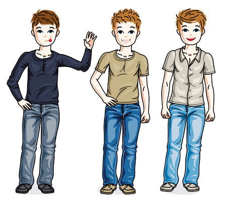 Young teen boys cute children group standing wearing fashionable casual clothes. Vector set of beautiful kids illustrations.