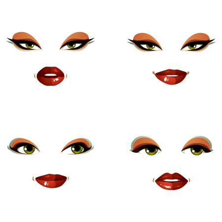 Set of vector portraits of sexy women in different emotions. Parts of female faces with beautiful makeup, green eyes and red lips.