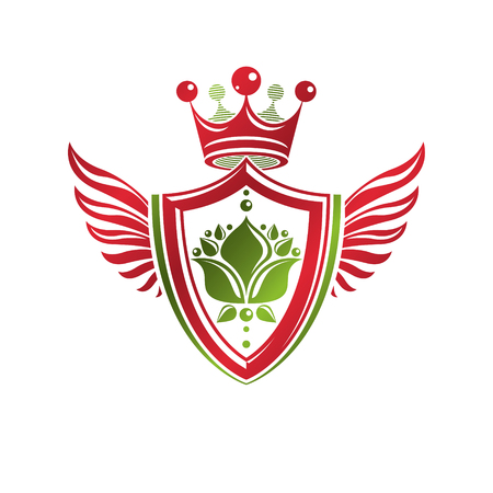 armory: Vintage heraldic coat of arms created with imperial crown and lily flower royal symbol. Eco friendly product symbol, best quality theme illustration, winged defense shield.