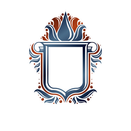 Blank heraldic design with copy space, vector vintage protection shield emblem decorated with lily flower and cartouche.