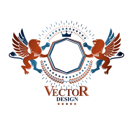 winged lion: Graphic emblem composed with Brave Lion King and imperial crown. Heraldic Coat of Arms decorative logo isolated vector illustration. Vectores