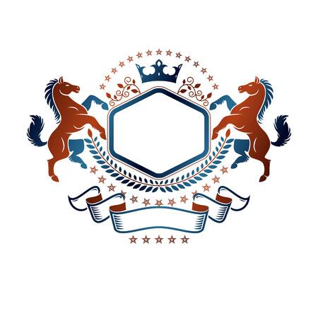 Graphic symbol created using wild horse animal element, luxury ribbon and imperial crown. Heraldic vector design element. Retro style label, heraldry logo.