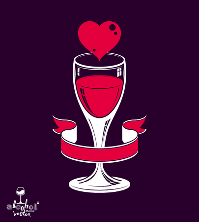Simple wineglass vector artistic illustration – marriage conceptual graphic object. Valentine's Day celebration theme – stylized goblet with red heart and beautiful wavy ribbon. Illustration