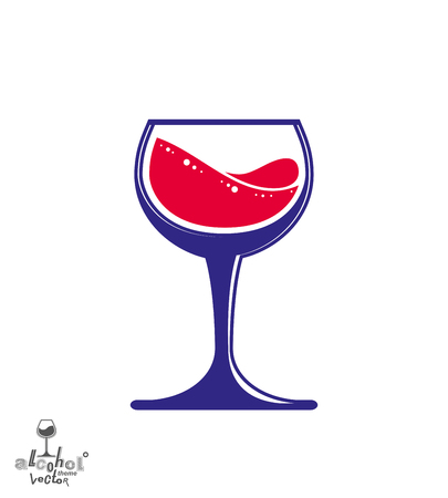 Bright classic vector goblet, stylish alcohol theme illustration. Lifestyle graphic design element - romantic rendezvous idea, eps8.
