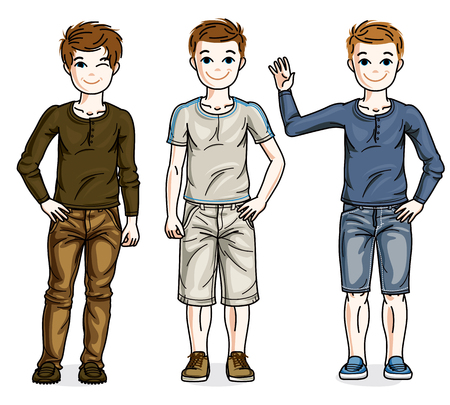 Beautiful young teenager boys group posing in stylish casual clothes. Vector diversity kids illustrations set.