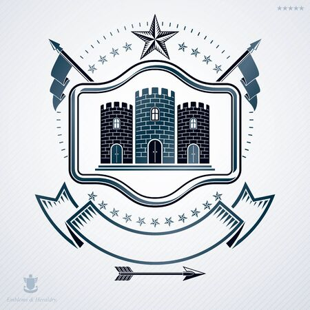 Heraldic coat of arms made in retro design, decorative emblem with medieval fortress and pentagonal star Illustration