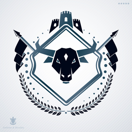 Vintage heraldry design template, vector emblem created with tower and buffalo head. Illustration