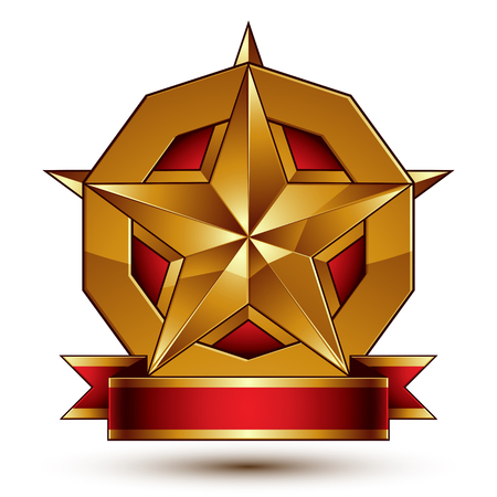 Heraldic golden symbol with stylized pentagonal star and red decorative curvy ribbon, best for use in web and graphic design. Sophisticated gold ring isolated on white background. Ilustrace