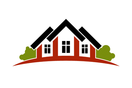 Colorful holiday houses vector illustration, home image with horizon line. Touristic and real estate creative emblem, cottages front view. Illustration