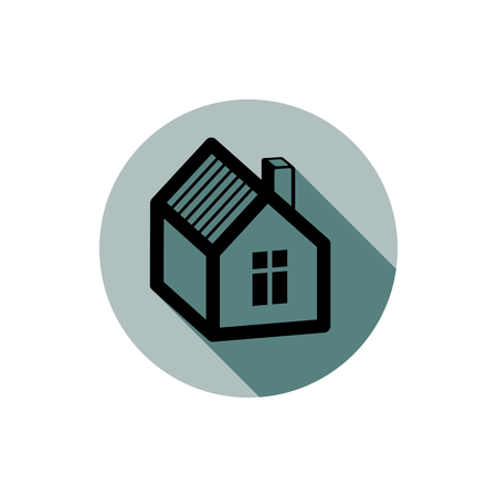 depiction: Simple house detailed vector illustration. Property developer conceptual icon, real estate emblem.  Building modeling and engineering projects abstract symbol.