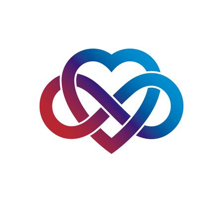 무한 한 사랑 개념, 무한 루프로 만든 벡터 기호 루프 기호 및 심장입니다.