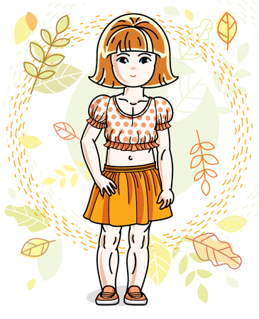 Cute happy little red-haired girl posing on background of autumn landscape and wearing fashionable casual clothes. Vector character. Illustration