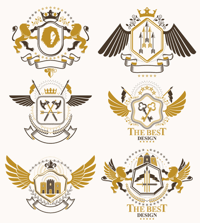 arsenal: Set of luxury heraldic vector templates. Collection of vector symbolic blazons made using graphic elements, royal crowns, medieval castles, armory and religious crosses.