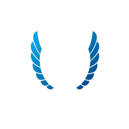 Blue freedom Wings emblem. Heraldic Coat of Arms decorative logo isolated vector illustration.