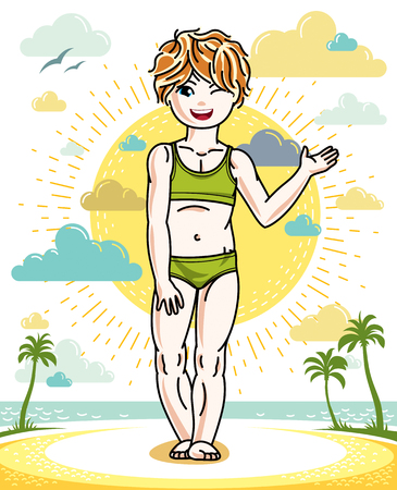 Beautiful happy little redhead girl posing on tropical beach with palms. Vector attractive kid illustration wearing swimming suit. Illustration