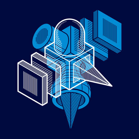 3D engineering vector, abstract shape made using cubes and geometric forms.