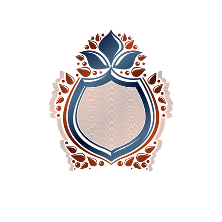 Blank heraldic design with copy space, vector vintage protection shield emblem decorated with lily flower and leaves.
