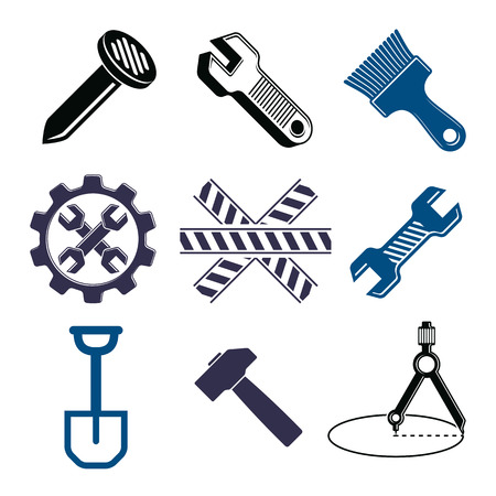 whitewash: Work tools collection, vector repair instruments for carpentry and manufacturing. Set of high quality elements, for use in graphic design.