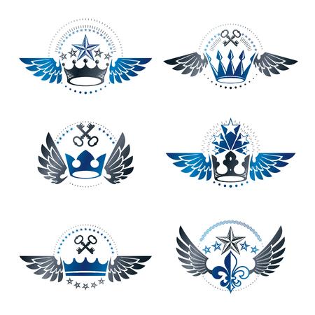 Royal Crowns and Vintage Stars emblems set. Heraldic vector design elements collection. Retro style label, heraldry logo. Illustration