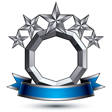 3d vector classic royal symbol, sophisticated silver round emblem with five pentagonal stars isolated on white background, glossy argent element with blue splendid ribbon.