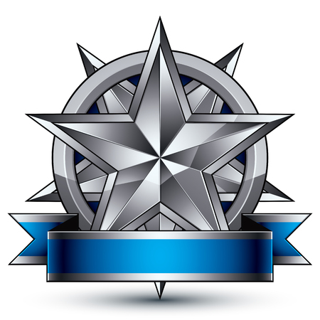 glorious: Glamorous vector template with polygonal silver star symbol, best for use in web and graphic design. Conceptual heraldic icon with wonderful smooth strip, clear eps8 vector.