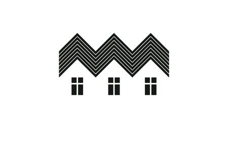Abstracte eenvoudige buitenhuizen vectorillustratie, huizenbeeld. Toeristische en onroerend goed idee, drie huisjes vooraanzicht. Vastgoedbedrijf of projectontwikkelaar bedrijfsthema.