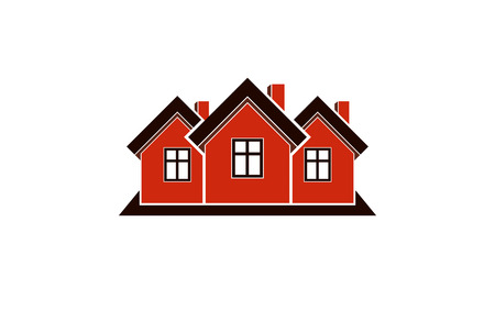 locality: Abstract simple country houses vector illustration, homes image. Touristic and real estate idea, three cottages front view. Real estate business or property developer corporate theme.