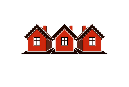 Simple cottages vector illustration, country houses, for use in graphic design. Real estate concept, region or district theme. Building company abstract image.