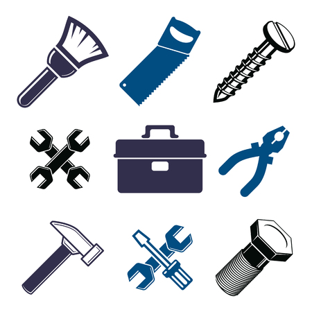 whitewash: Set of 3d detailed tools, vector repair theme stylized graphic elements isolated on white. Collection of classic work tools, industry icons.