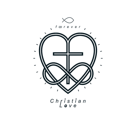 True Infinite Christian Love and Belief in God, vector creative symbol design, combined with infinity eternal loop and Christian Cross, vector logo or sign. Vettoriali