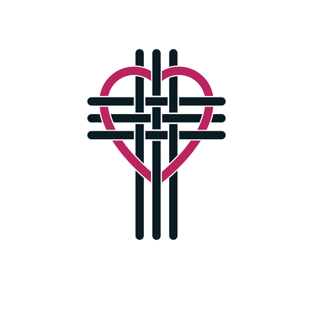 True Christian Love and Belief in God, vector creative symbol design, combined Christian Cross and heart, vector logo or sign.
