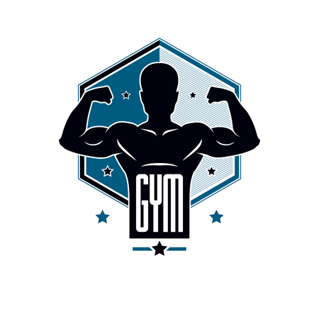 Gym weightlifting and fitness sport club logo, vintage style vector emblem. With sportsman silhouette. Illustration
