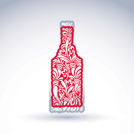 Stylized bottle decorated with ethnic flower pattern. Alcohol idea vector illustration, elegant graphic art flowery pitcher.