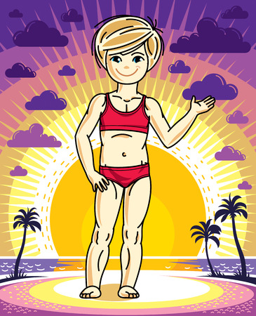 Cute little blonde girl standing on sunset landscape with palms and wearing bath suit. Vector human illustration.