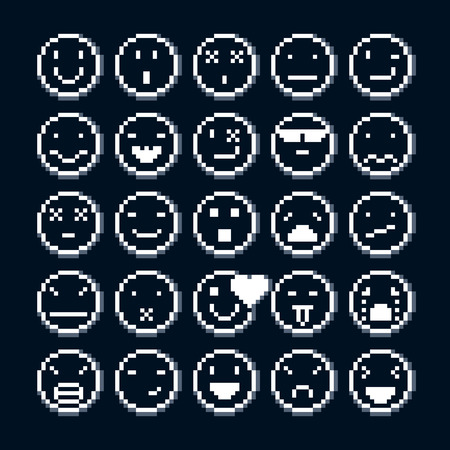 Set of vector retro signs made in pixel art style. Emotional expressions displayed on the faces of personalities, geometric pixilated symbols.
